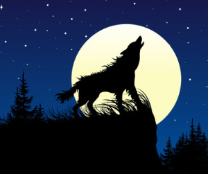 The wolf howling on the full moon at night. Vector illustration